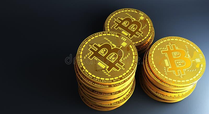 Много bitcoins золота кладя на отражательную поверхность, перевод 3d иллюстрация штока