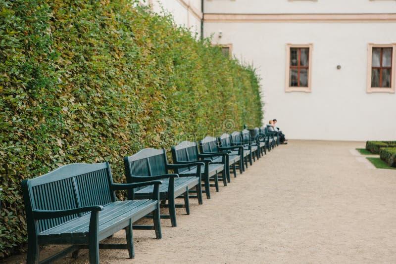 Много paddock benches в ряд На последнем стенде, любящая пара или друзья встречали и связывают, люди расплывчатый стоковые фото