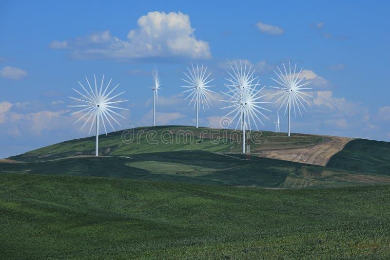 Множественные ветротурбины во времени Palouse Вашингтона lapsed для потехи стоковое фото