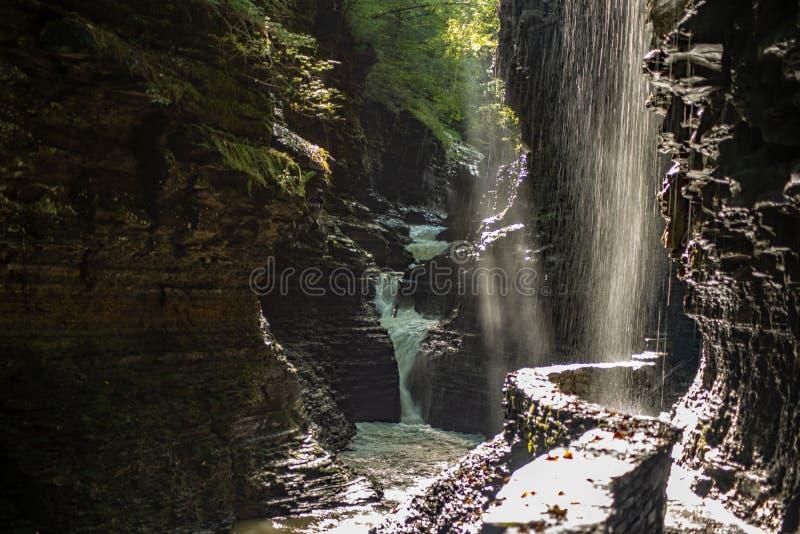 Множественные водопады на следе ущелья в парке штата Watkins Глен, Нью-Йорке стоковые фото