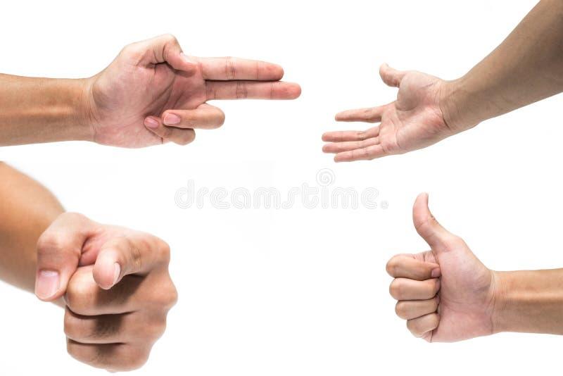 Множественные мужские жесты рукой изолированные над белой предпосылкой Рука с указывать палец, большие пальцы руки вверх стоковые фото