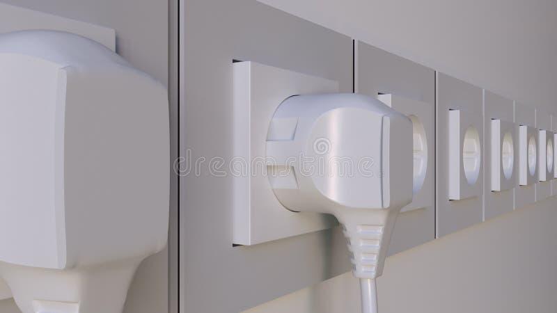 Множественные штепсельные вилки будучи введенным в выходы Концепции расхода энергии или перегрузки Elecric перевод 3d стоковые фотографии rf