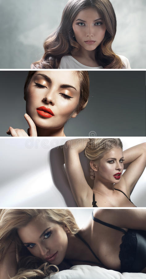 Множественный портрет 4 привлекательных дам стоковые фотографии rf