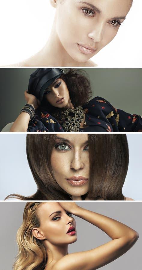 Множественный портрет 4 привлекательных дам стоковая фотография rf