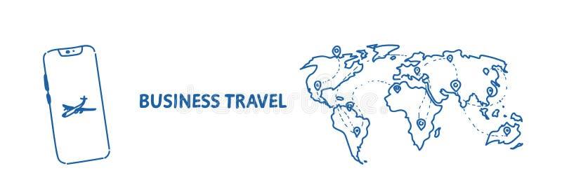 Мобильная карта мира агенства компании туризма концепции деловых поездок применения с путешествовать штырей международный самолет иллюстрация штока