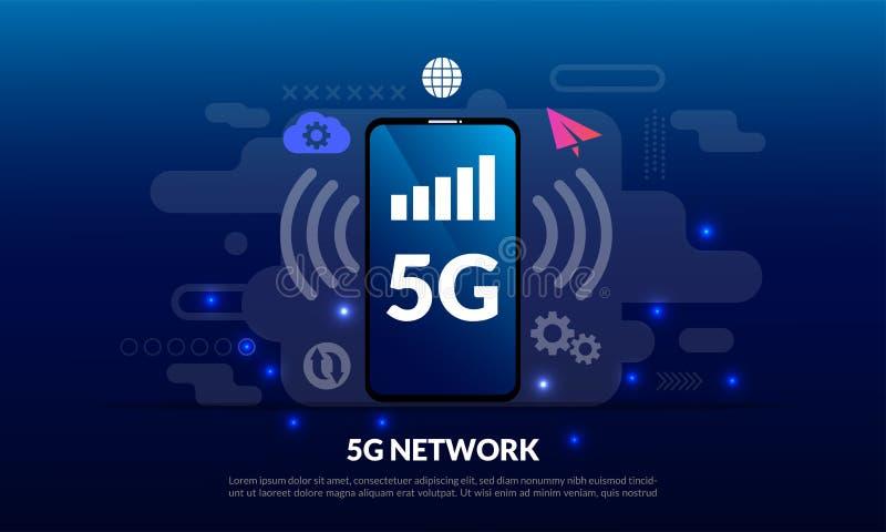 мобильная концепция сети 5G, интернет широкополосной радиосвязи беспроводной, данные по соединения нововведения быстрого хода гло иллюстрация штока