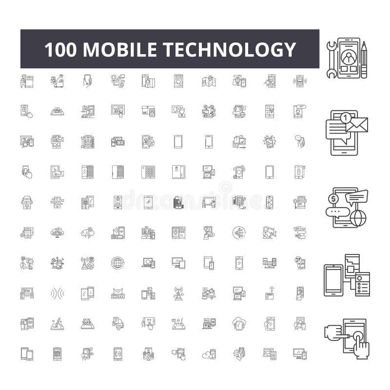 Мобильная линия значки технологии, знаки, набор вектора, концепция иллюстрации плана бесплатная иллюстрация