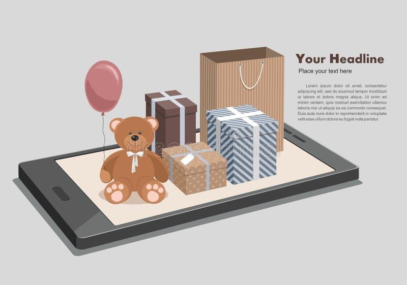 Мобильная онлайн ходя по магазинам равновеликая концепция Плюшевый мишка и clorful подарки по телефону иллюстрация вектора