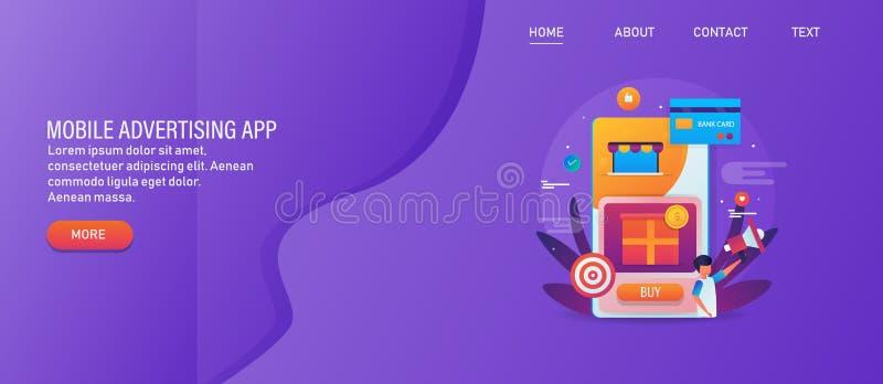 Мобильная реклама на социальных средствах массовой информации оплаченных содержание, целевой рынок, человека с мегафоном, цифрово иллюстрация штока
