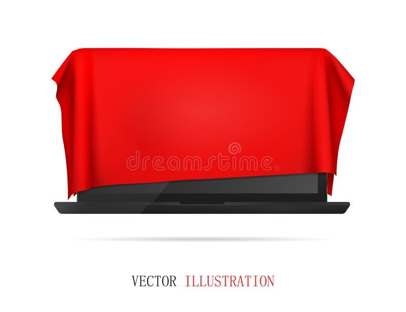Мобильная ткань, презентация нового ноутбука, подарок стоковая фотография