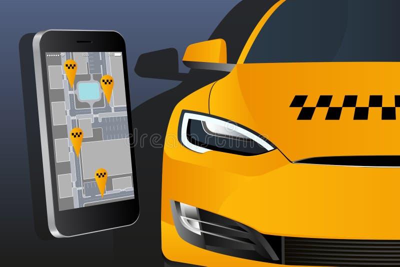 Мобильное применение для приказывая такси стоковые фотографии rf