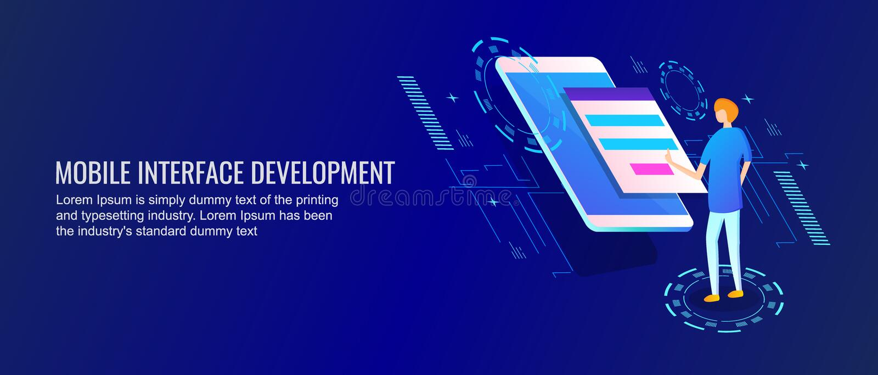 Мобильное развитие интерфейса, применение, программист работая на мобильной концепции развития приложения Плоское знамя вектора д бесплатная иллюстрация