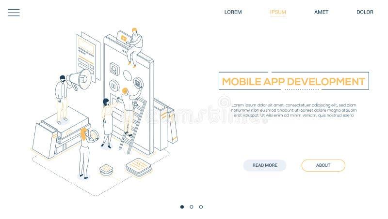 Мобильное развитие приложения - линия знамя сети стиля дизайна равновеликое иллюстрация вектора