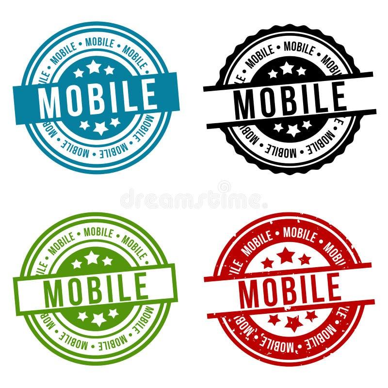 Мобильное собрание печати Круглый значок иллюстрация штока