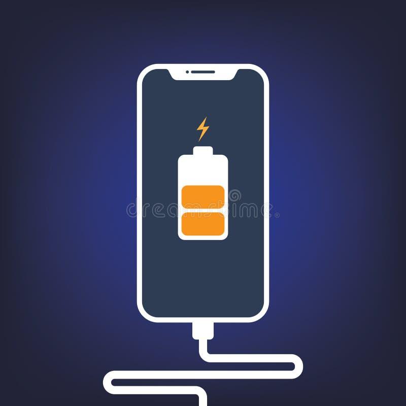 Мобильные смартфоны поручая с соединением USB r o бесплатная иллюстрация