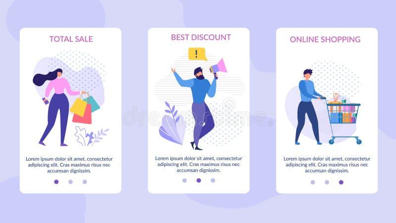 Мобильные страницы установили рекламировать полную скидку продажи бесплатная иллюстрация