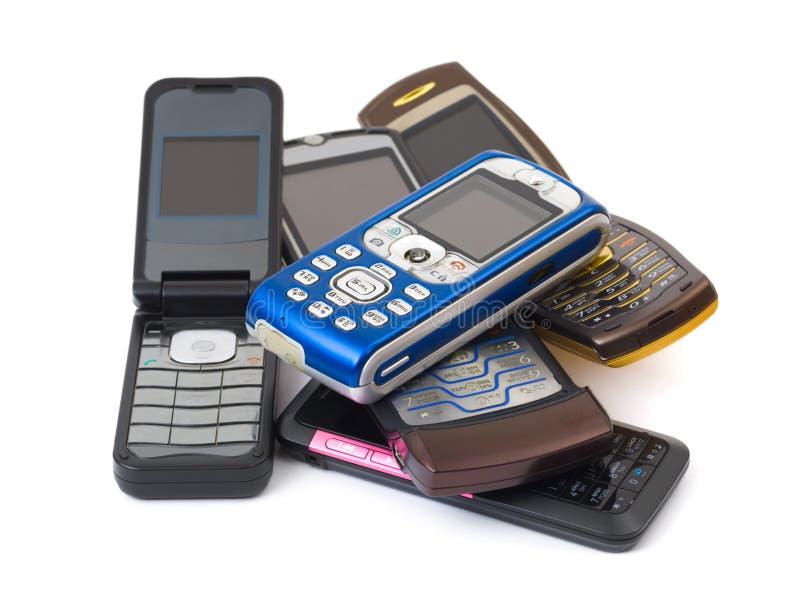 мобильные телефоны вороха стоковое изображение