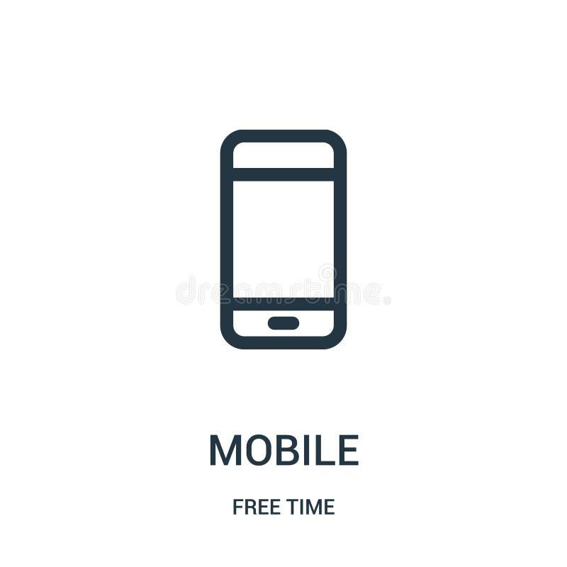 мобильный вектор значка от собрания свободного времени Тонкая линия мобильная иллюстрация вектора значка плана Линейный символ дл иллюстрация штока