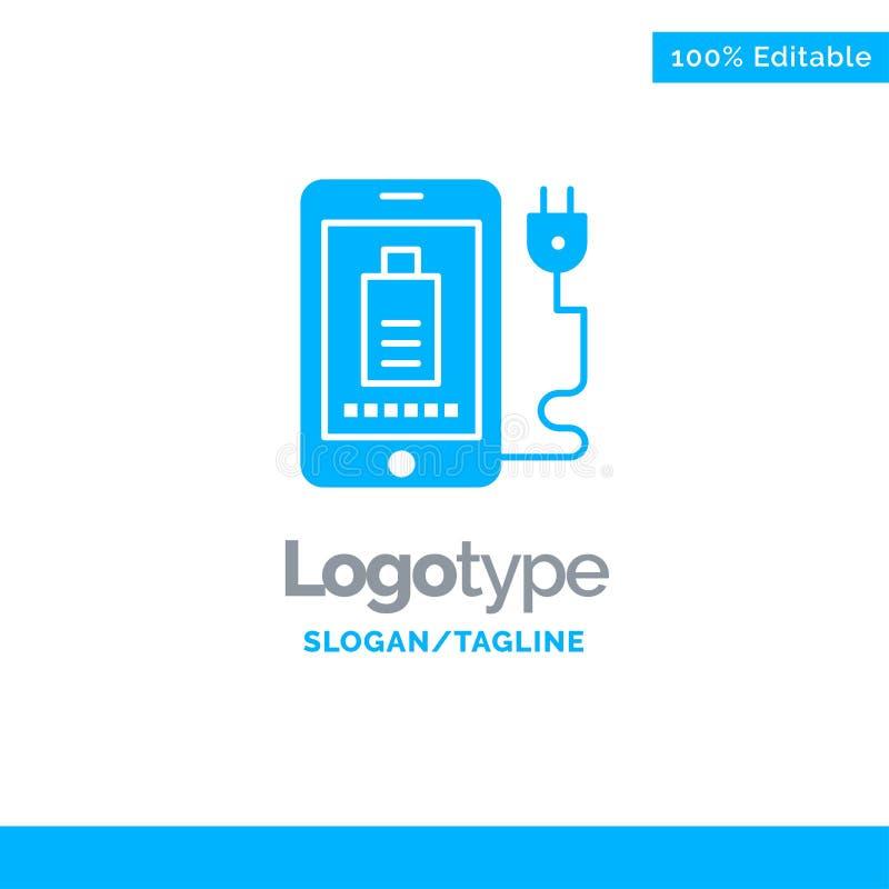 Мобильный, заряженный, полный, синий шаблон бизнес-логотипа Plug Blue иллюстрация штока