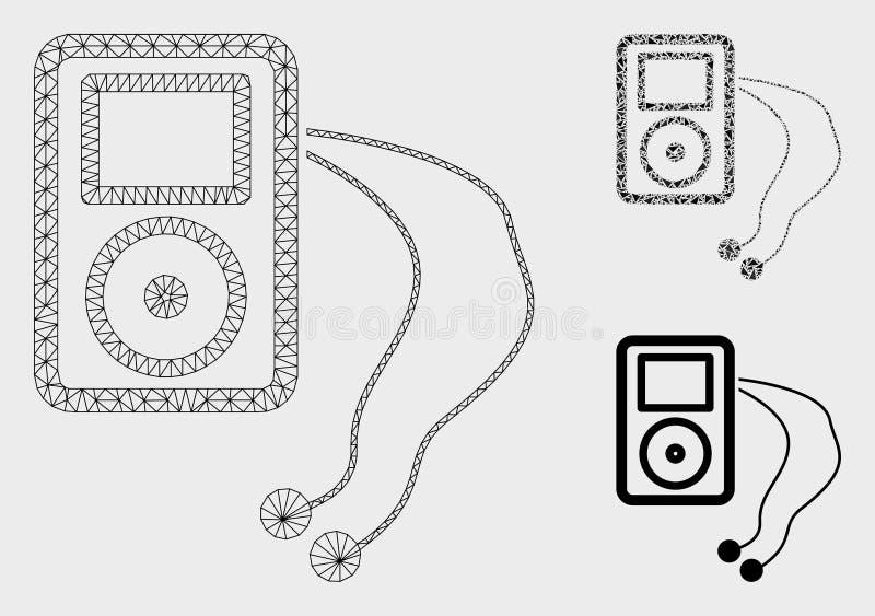 Мобильный значок мозаики модели и треугольника туши сетки вектора медиа-проигрывателя иллюстрация вектора