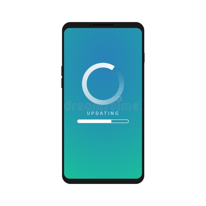 Мобильный значок обновления, телефон программного обновления Данные по концепции экрана смартфона плоские нагружая иллюстрация штока