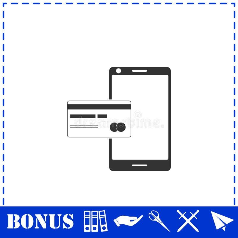 Мобильный значок оплаты плоско иллюстрация штока