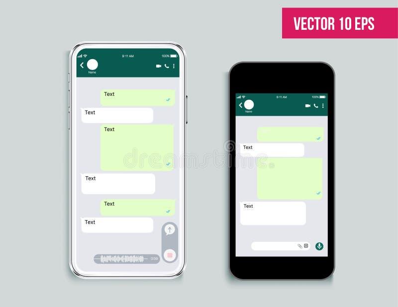 Мобильный посыльный набора ui r Шаблон приложения болтовни Современный реалистический белый и черный смартфон Социальная концепци иллюстрация штока