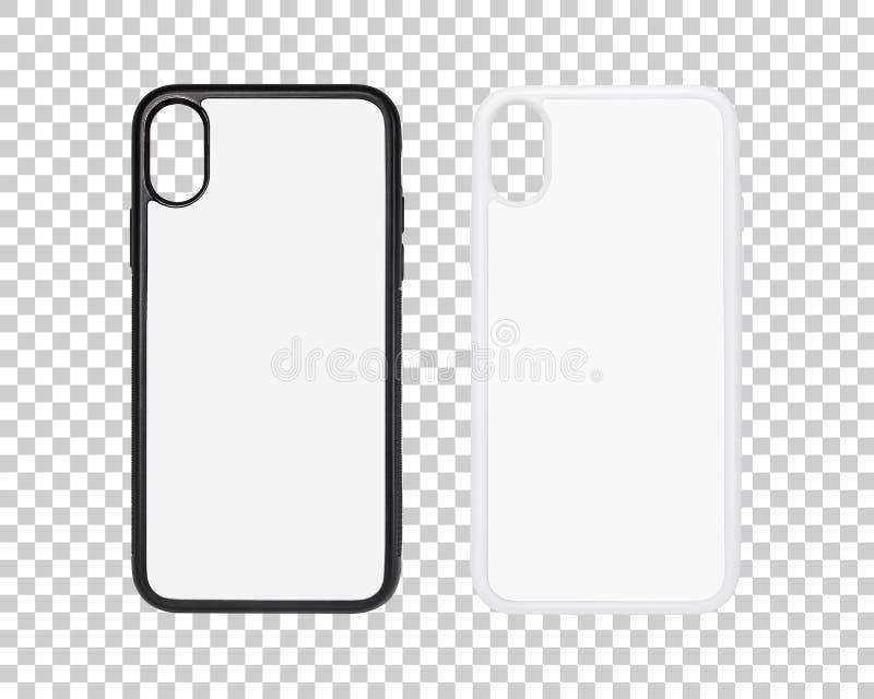 Мобильный случай изолированный на прозрачной предпосылке слоя Пустая крышка телефона для вашего дизайна r стоковое фото rf