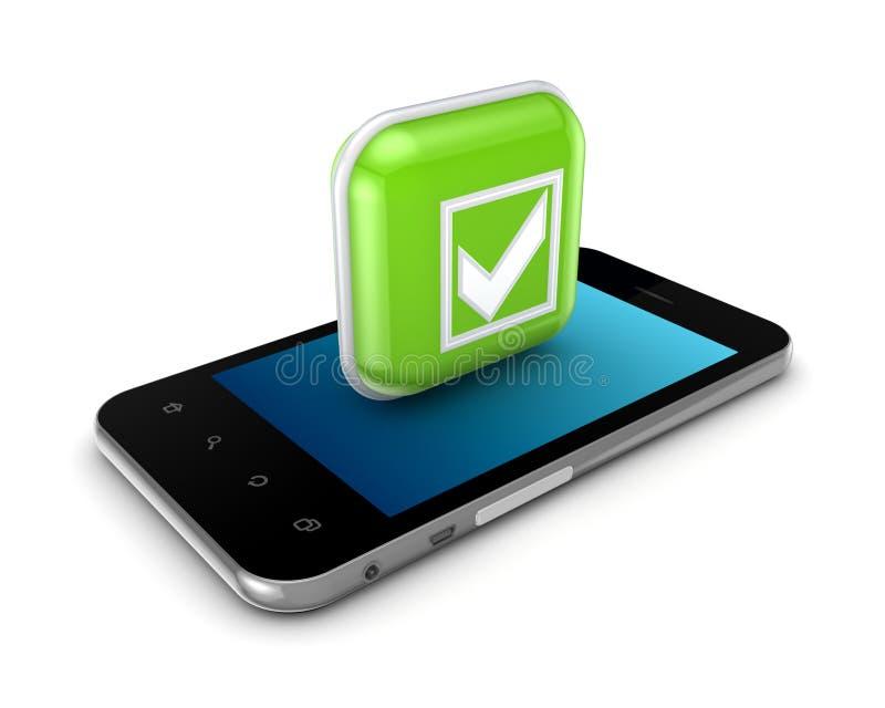 Мобильный телефон и икона с символом метки тикания. бесплатная иллюстрация