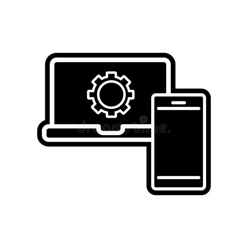 мобильный телефон и ноутбук с шестернями внутри значка Элемент финансов для мобильных концепции и значка приложений сети Глиф, пл иллюстрация вектора