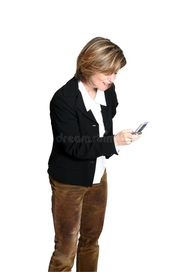 мобильный телефон коммерсантки стоковое фото