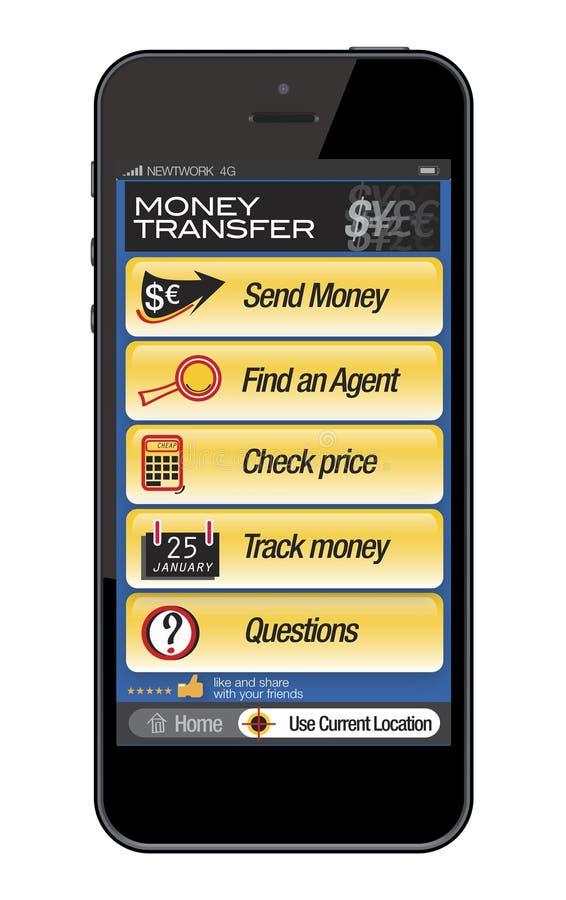 Мобильный телефон - перечисление денег иллюстрация вектора