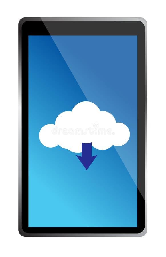 Мобильный телефон с иконой голубого облака вычисляя иллюстрация штока
