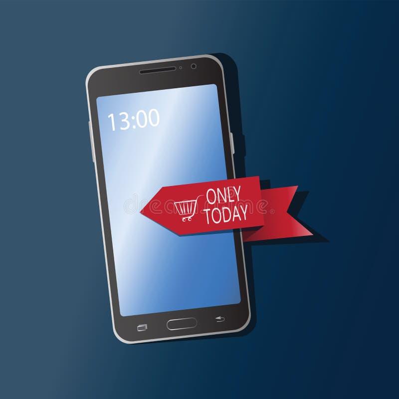 Мобильный телефон с лентой и надписью ТОЛЬКО СЕГОДНЯ бесплатная иллюстрация
