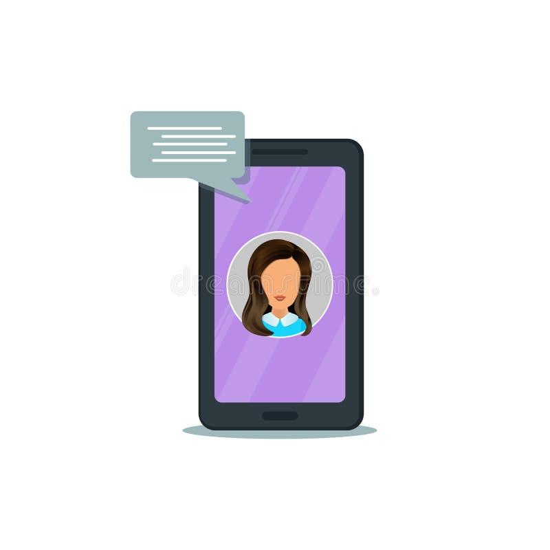 Мобильный телефон с онлайн пузырями речи chatbot и болтовни изолированными на белой предпосылке иллюстрация вектора