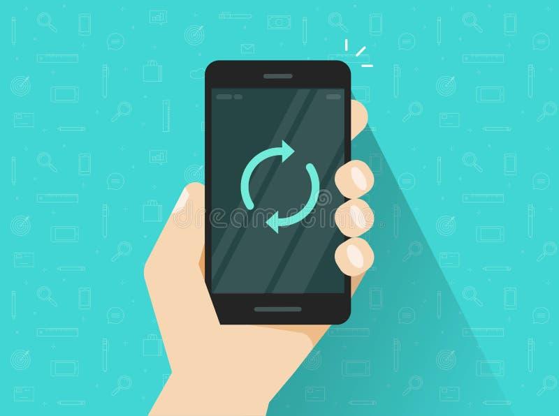 Мобильный телефон уточняя вектор, плоский smartphone шаржа с синхронизирует вокруг стрелок на экране, идее соединяться иллюстрация вектора