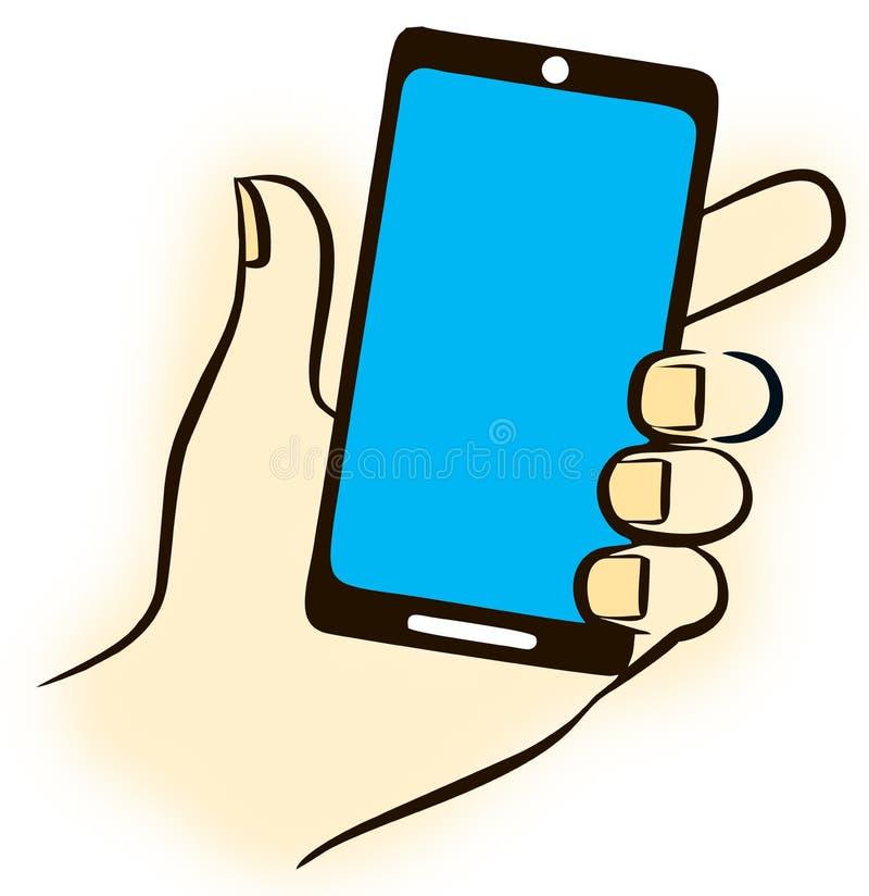 Мобильный телефон экрана касания в руке женщин бесплатная иллюстрация