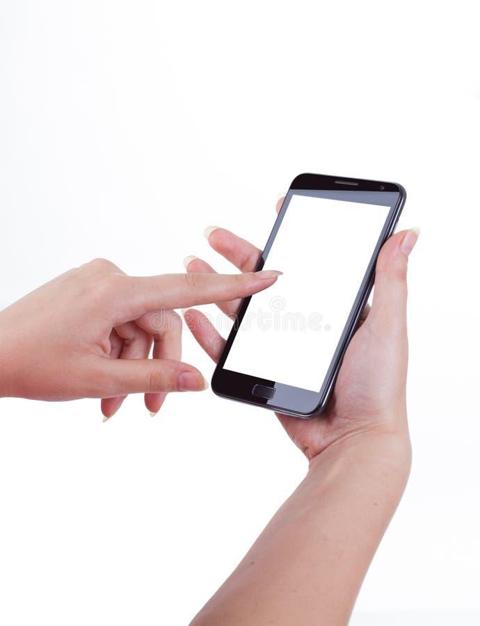 Мобильный телефон экрана касания, в руке стоковое изображение
