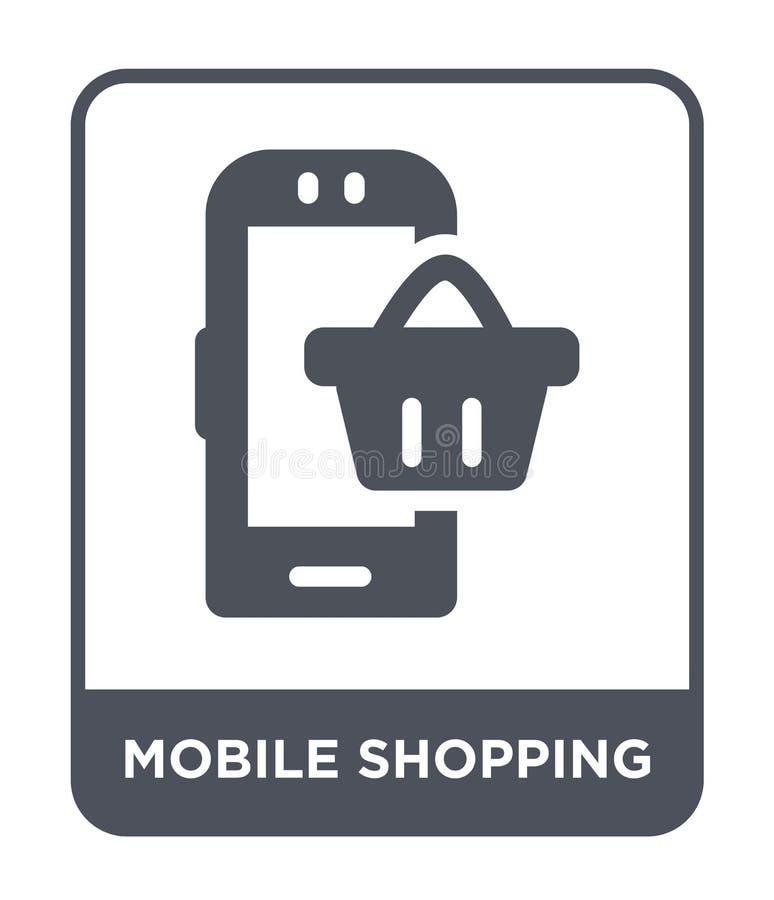 мобильный ходя по магазинам значок в ультрамодном стиле дизайна мобильный ходя по магазинам значок изолированный на белой предпос бесплатная иллюстрация