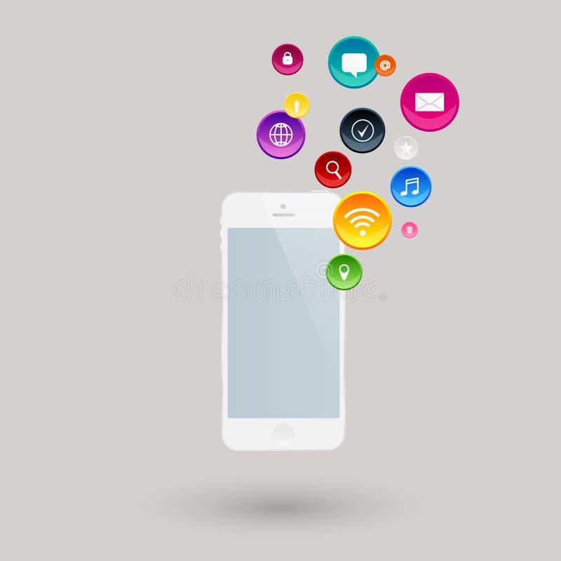 Мобильная телефонная связь умными apps телефона иллюстрация штока