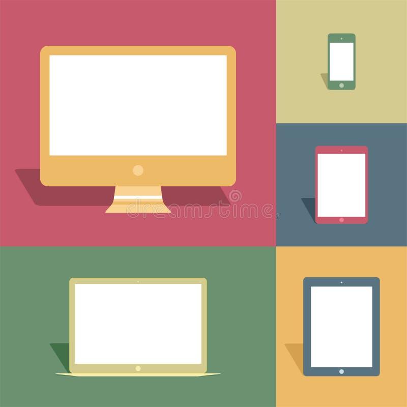 Мобильные устройства и экраны в винтажном стиле иллюстрация штока