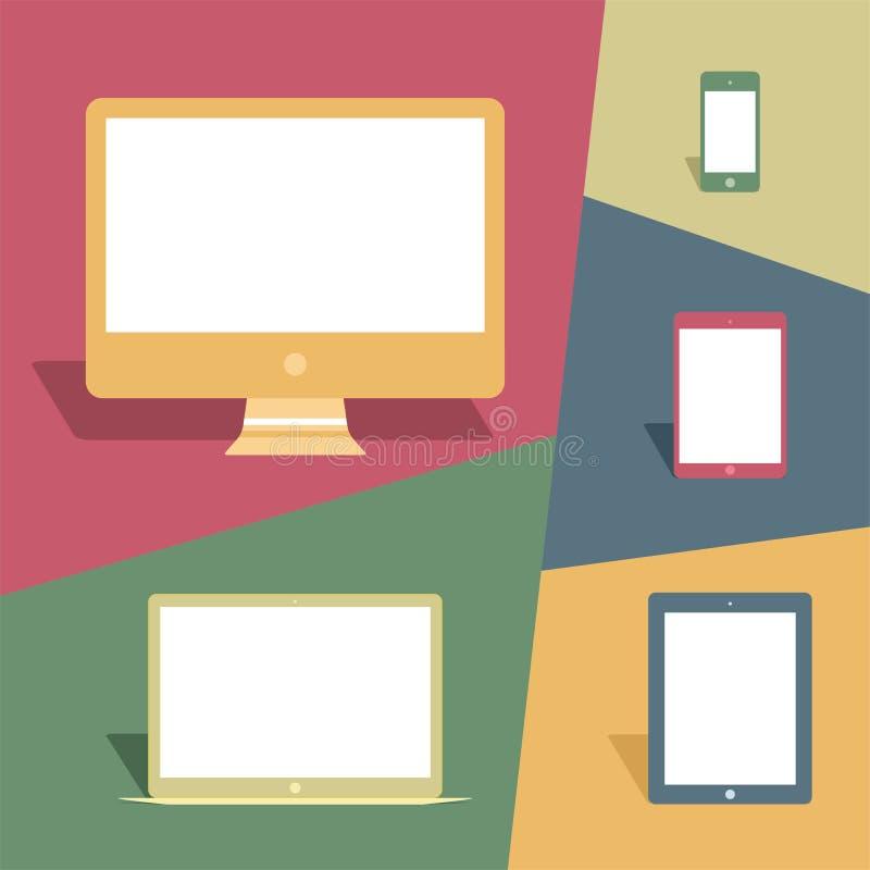 Мобильные устройства и экраны в винтажном стиле бесплатная иллюстрация