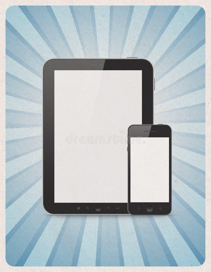 Мобильные устройства на ретро предпосылке иллюстрация вектора