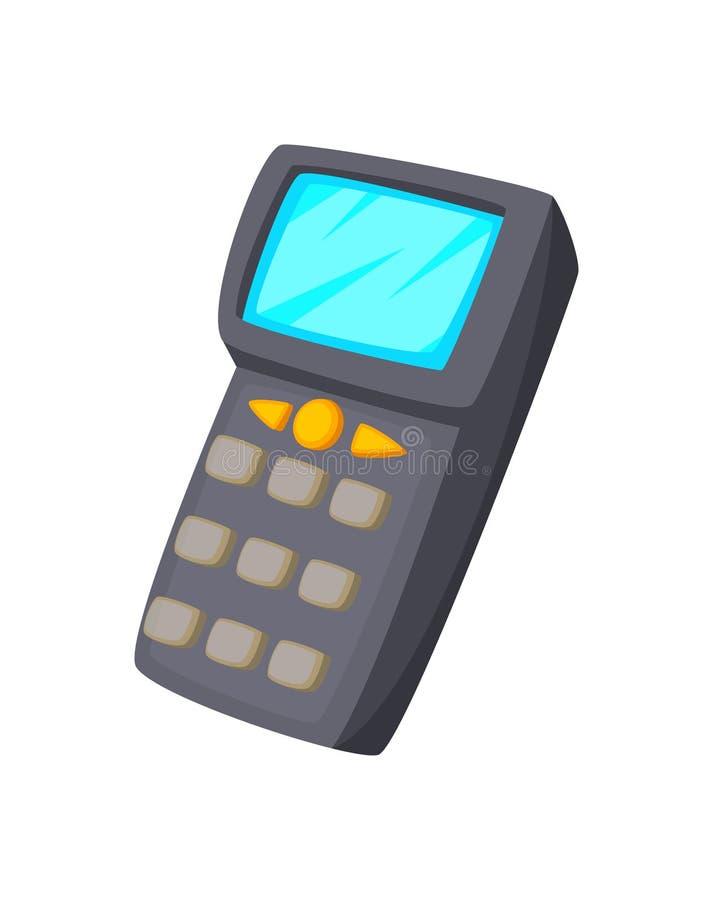 Мобильный компьютер дизайна технологии концепции шаржа Handheld в штрихкоде руки или блока развертки на белой предпосылке иллюстрация вектора