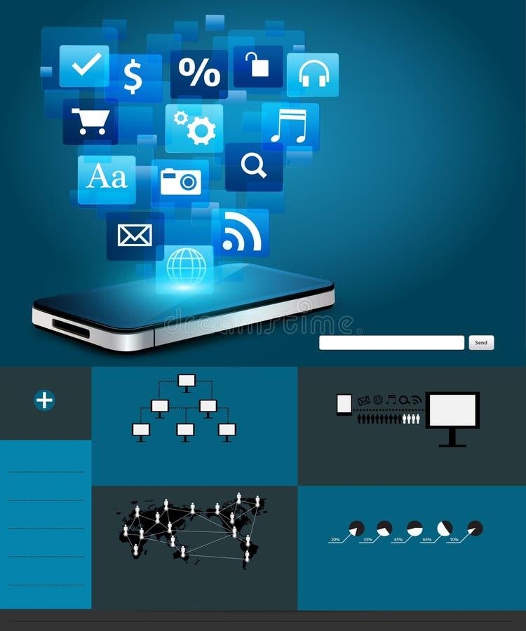Мобильный телефон вектора с облаком значков применения