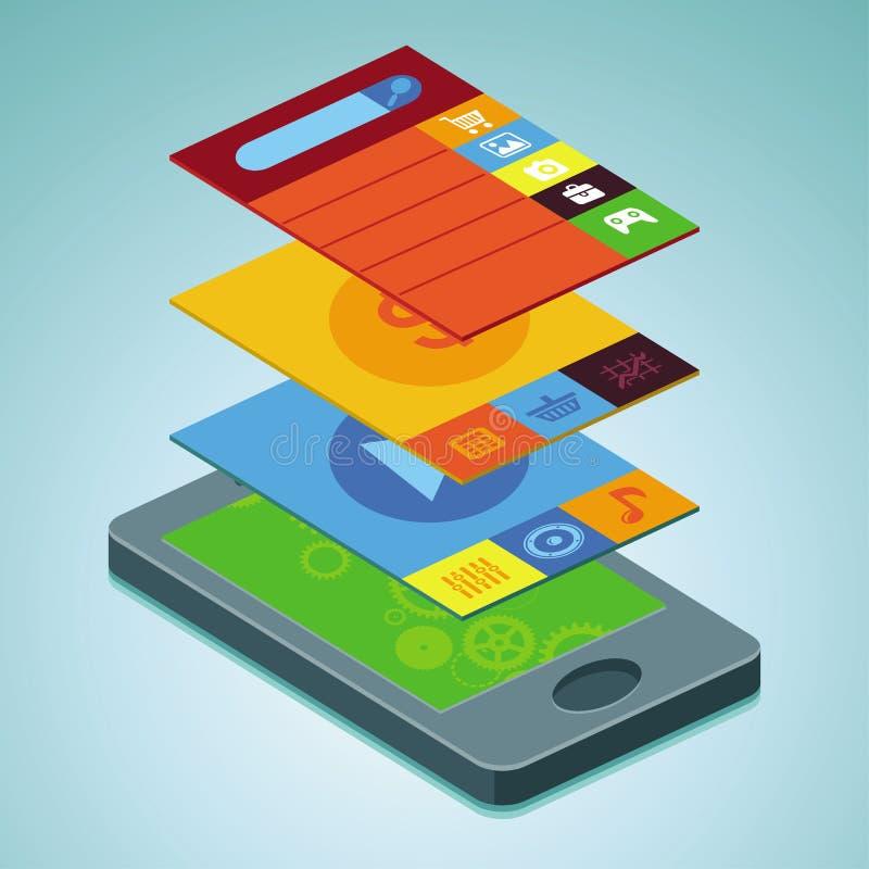 Мобильный телефон вектора - infographic элементы иллюстрация вектора