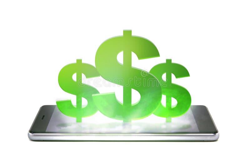 Мобильный телефон изолированный на белой предпосылке с значком денег стоковое фото
