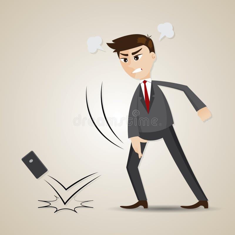 Мобильный телефон сердитого бизнесмена шаржа бросая иллюстрация штока