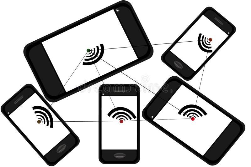 Мобильный телефон, сеть и сообщение иллюстрация вектора