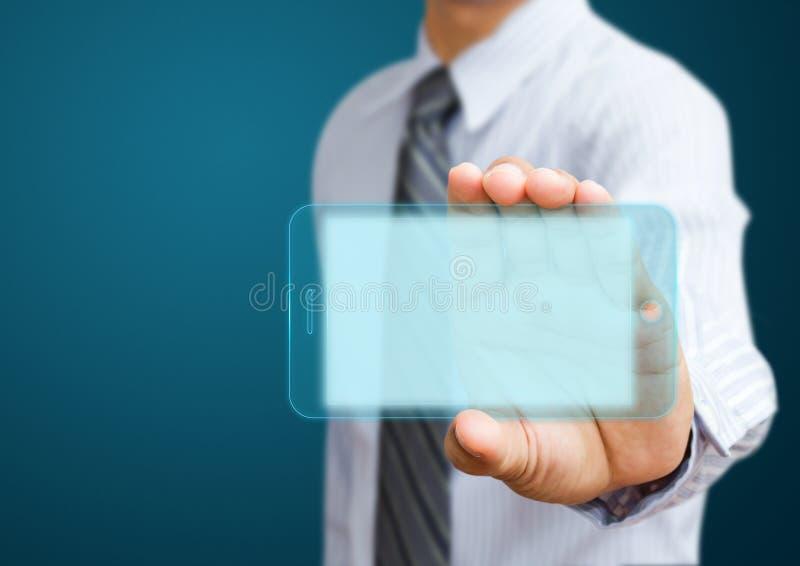 Мобильный телефон с бизнесменами стоковая фотография rf